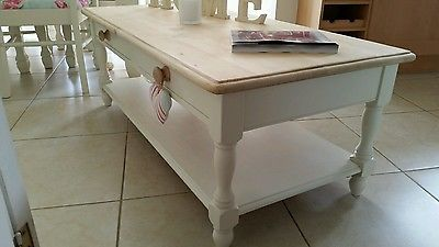 Shabby chic large pine coffee table with drawers in Laura Ashley White