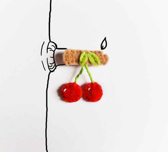 Felt cherry brooch spring felt jewelry felt by InspirationalGecko #italiasmartteam #etsyshop #etsy #shopping #giftidea @etsy