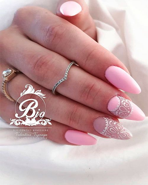 Cute Baby Pink Almond Nails Ideas In 2019 Pink Nails Stilleto Nails Designs Shiny Nails Designs