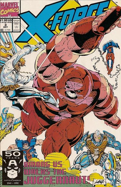 You know what Rob Liefeld hates drawing? Feet. On this cover for X-Force #3, Rob is depicting a battle taking place between the titular team and internet darling The Juggernaut (who among us walks, apparently). They all appear to be battling atop some sort of boulder, which serves the purpose of covering up the feet of Juggernaut, Warpath, and Cable.