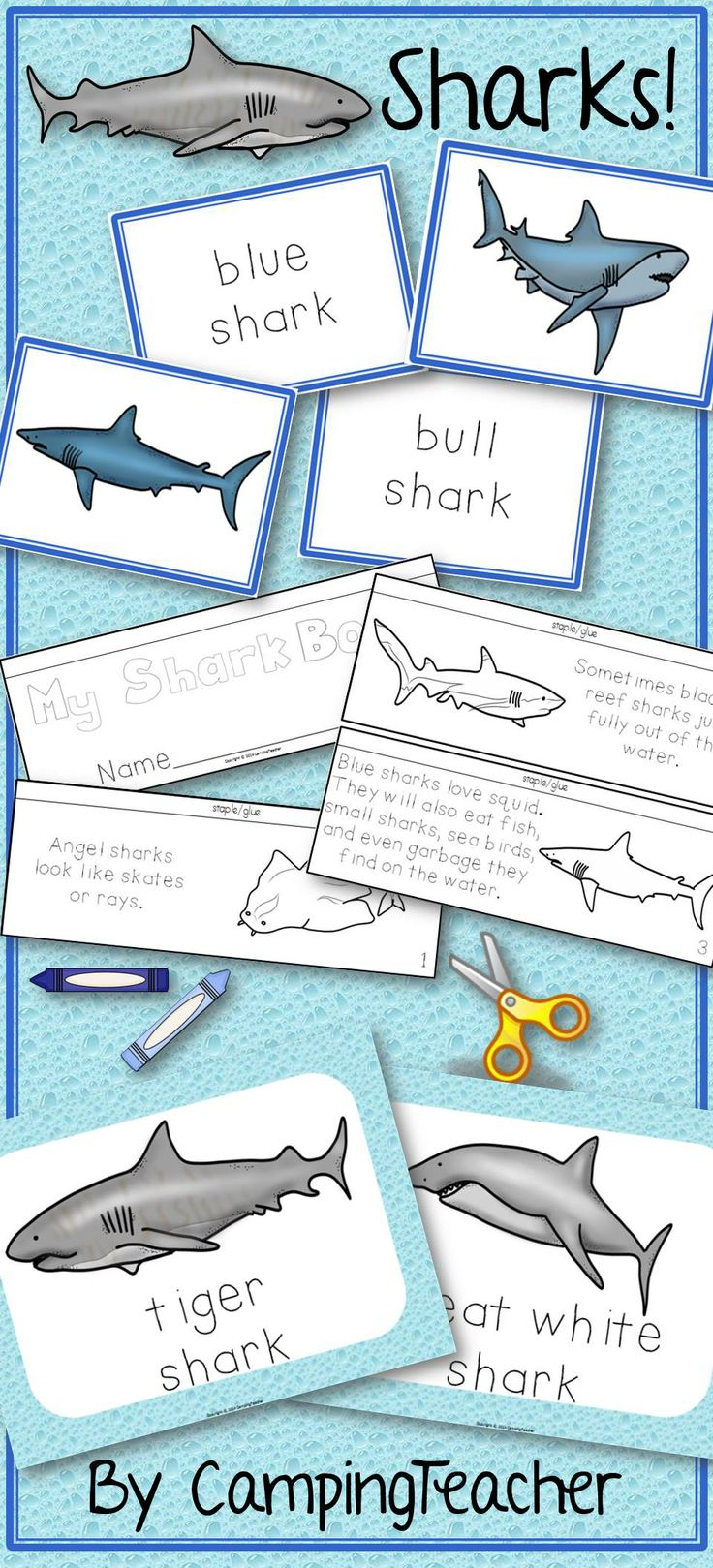 All about Sharks! Flip book, posters, and matching science center cards.