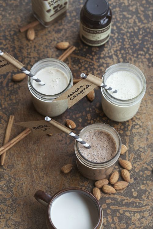 Homemade coffee creamer. Several different flavors--Love that I found this.  We just stopped using all the artificial creamers...and I miss the flavors.