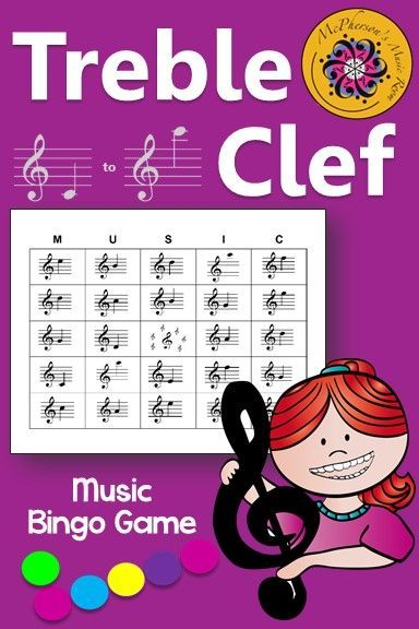 A fun music bingo game to review notes on the treble clef staff including ledger lines! Your students will be begging to play it again! Perfect for whole group instruction, centers or for a substitute to facilitate!