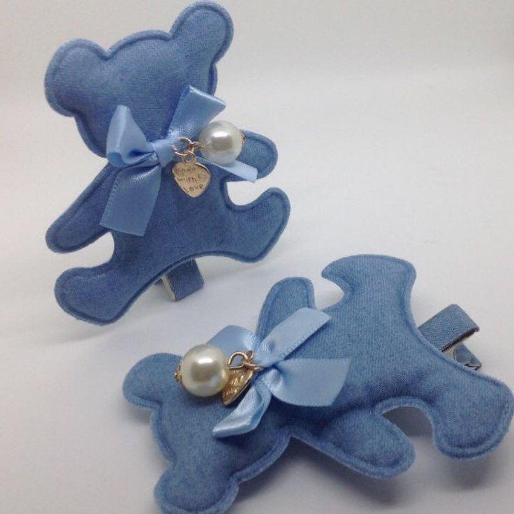 Large Pair of Blue Bear Girls Hair Clips