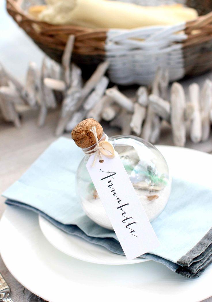 DIY Beachcomber Wedding Place Settings