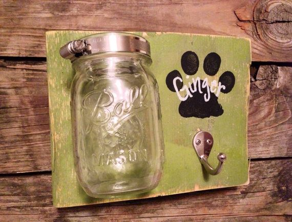 PAWesome Leash and Treat Holder by VintageFlairFurnish on Etsy $30 - but easily a DIY
