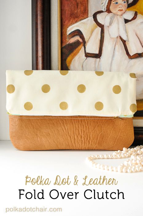 A free sewing pattern for a polka dot and leather fold over clutch. Learn how to make your own stenciled fabric and sew with leather while making this fold over clutch.