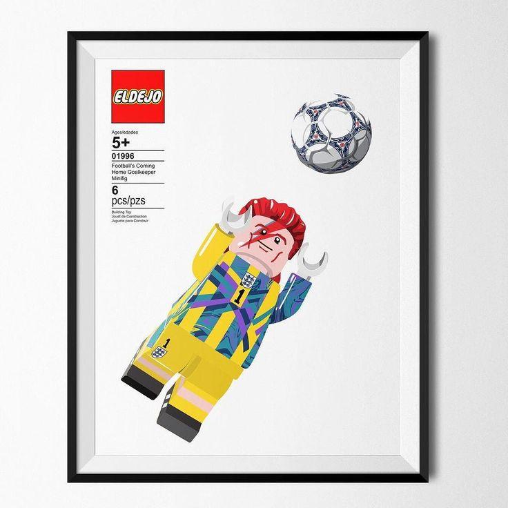 Ziggy Stardust for England manager. Football's Coming Home Goalkeeper Minifig - Lego Print by @el_dejo now available #bigsam  #ziggystardust #davidbowie #lego #footballshirtcollective #england #umbro
