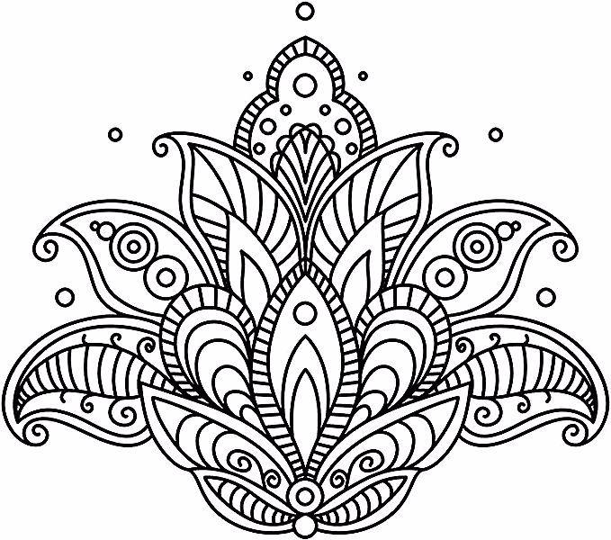 Bilder Zum Ausmalen Grosser Lotus Lotusblume Mit Mandala Motiven Kleine Kreise Tattoo Vorlage Flower Drawing Design Paisley Flower Flower Designs