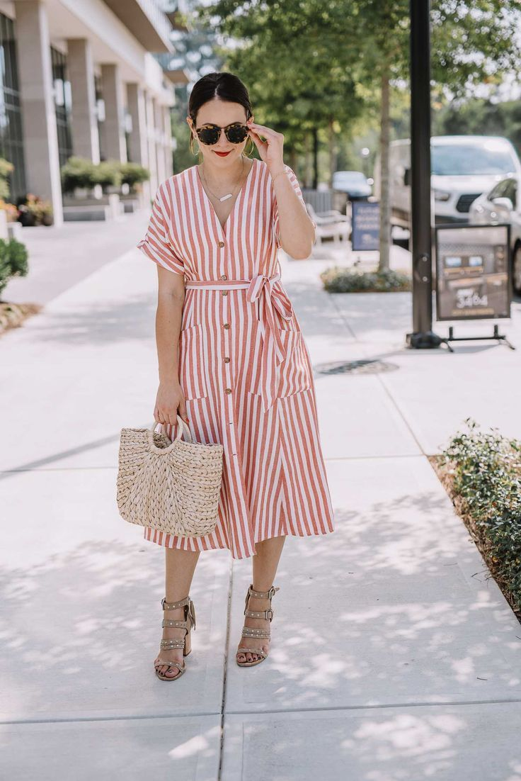 4th Of July Outfit Ideas That Feel Elevated An Indigo Day Summer Dresses For Women Summer Fashion Outfits Stripped Dress Outfit [ 1102 x 736 Pixel ]