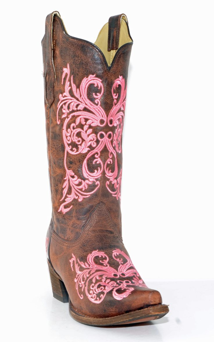 Women's Corral Brown/Pink Dahlia Embroidery Boots #A2918