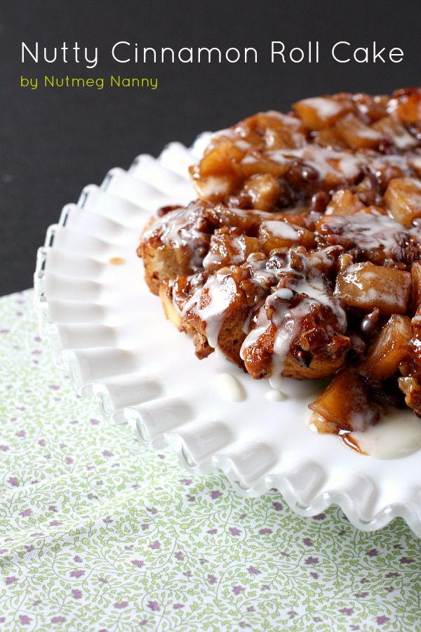 Nutty Cinnamon Roll Apple Cake by Nutmeg Nanny