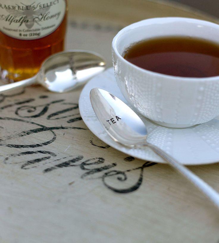 Beautiful Vintage Tea & Honey Stamped Spoons.