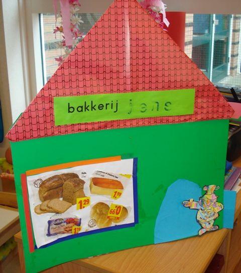de bakker en zijn bakkerij De oudste kinderen maken de moeilijkste versie..de wat jongeren kinderen de makkelijke versie. De bakker staat vermeld in het Giga-knutselboek van Thea van Mierlo