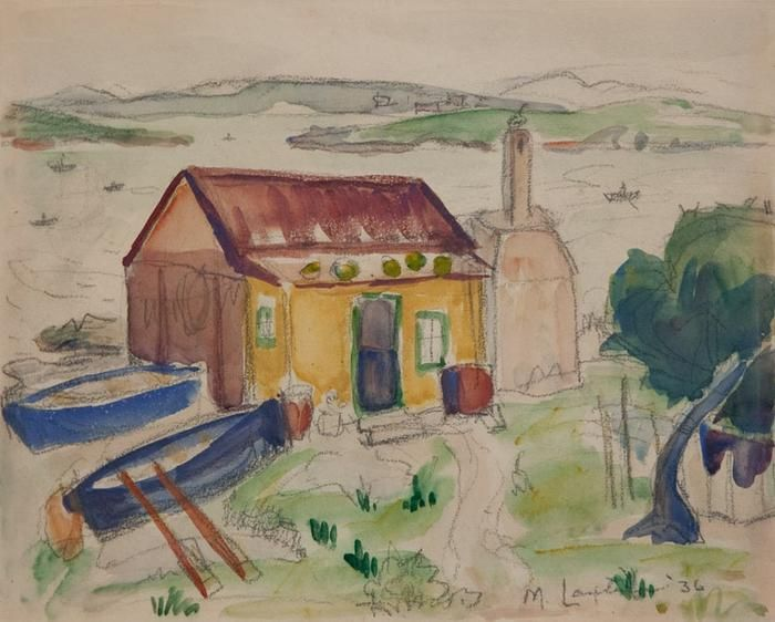 Fisherman's Cottage with Boats, watercolour, 1936, Maggie Laubser