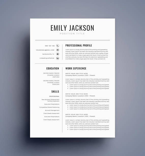 Modern Resume Template / CV Template for Word Cover Letter
