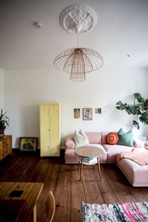 Living space styled with soft pastels
