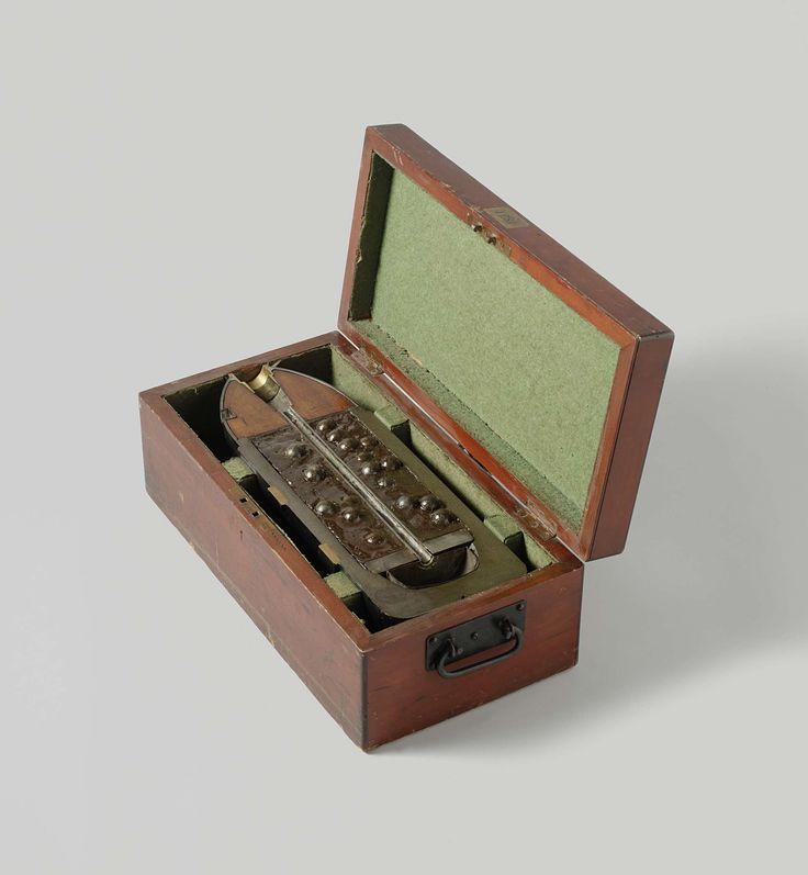William Armstrong & Co. | Shrapnel shell, William Armstrong & Co., 1868 | Een halve overlangs doormidden gezaagde puntvormige 18 cm granaat-kartets in een houten kist. De granaat is 49.2 cm lang en heeft een kaliber van 176 mm. De granaat heeft twee ringen ingeperste nokken voor een getrokken loop met drie trekkende velden, een ballistische kap gevuld met hout, een buisgat, een vuurgeleidingspijp naar de springlading in de bodem en een kartetslading van loden kogels van 24 mm diameter…