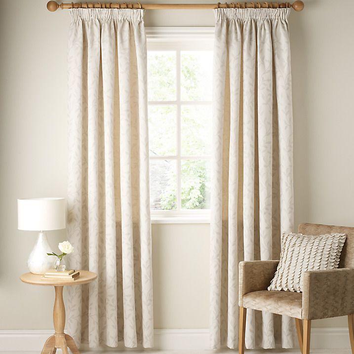 Buy John Lewis Leaf Trail Lined Pencil Pleat Curtains, Stone, Pair, W182 x Drop136cm Online at johnlewis.com
