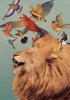Aslanish (Lizzy Stewart): Wall Art, Lion Laughing, Contemporary Artworks, Illustrations, Gicle Prints, Lizzie Stewart, Birds, Animal, Kids Rooms