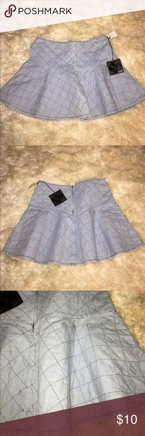 Luna Denim Quilted Skater Skirt MI Italy New With Tags Luna Made In Italy Quilted Denim Skater Skirt w Zip back closure. SizeM Luma Made In Italy Skirts Circle & Skater