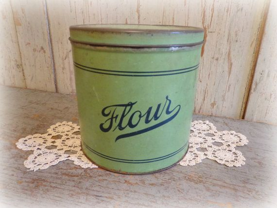 vintage empecco flour canister 1940 39 s green blue