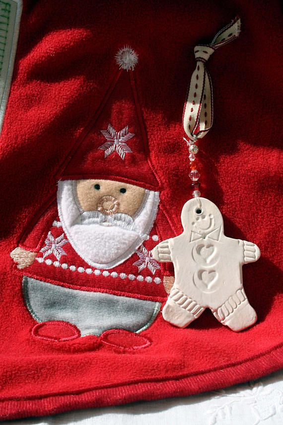 Gingerbread Man Christmas Tree Decoration. Hanging White
