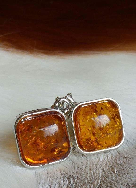 Oorbellen van metaal en geperst amber