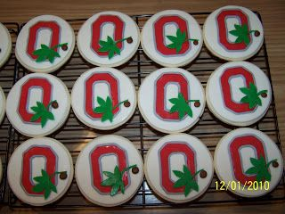 Ohio State Buckeye Cookies- decorated with marshmallow fondant.