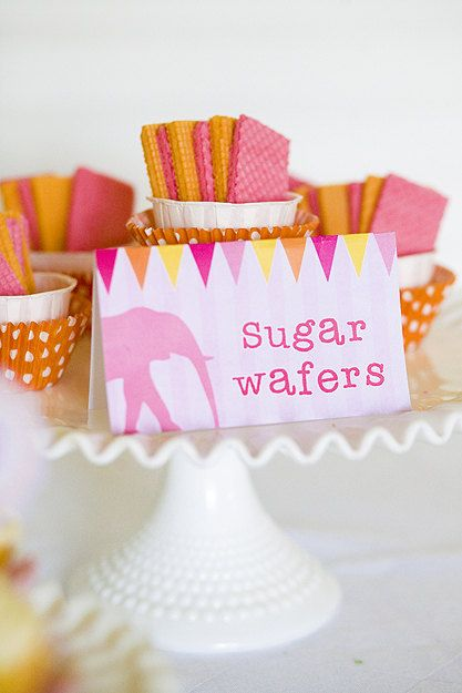 CIRCUS PARTY Pink and Orange Printable Party Set with Invitaions, Tags, toppers