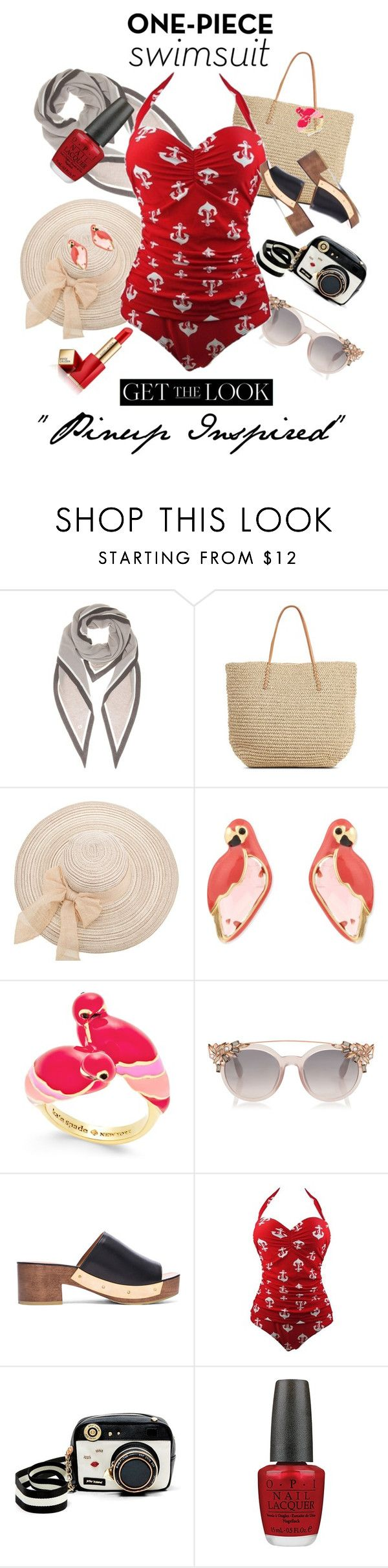 """Pinup at The beach"" by stylebycharlene on Polyvore featuring Loro Piana, Target, Kate Spade, Rosetta Getty, Betsey Johnson, OPI and Estée Lauder"