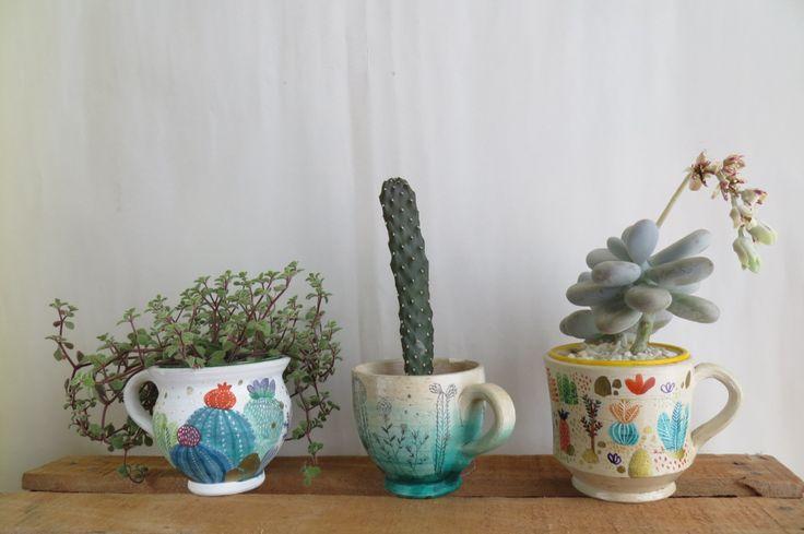 Eliblue Ilustración & diseño #planter #matera #illustration #cactus #watercolor #acuarelas #matera #sacculent #suculenta #ilustracion #bogotá