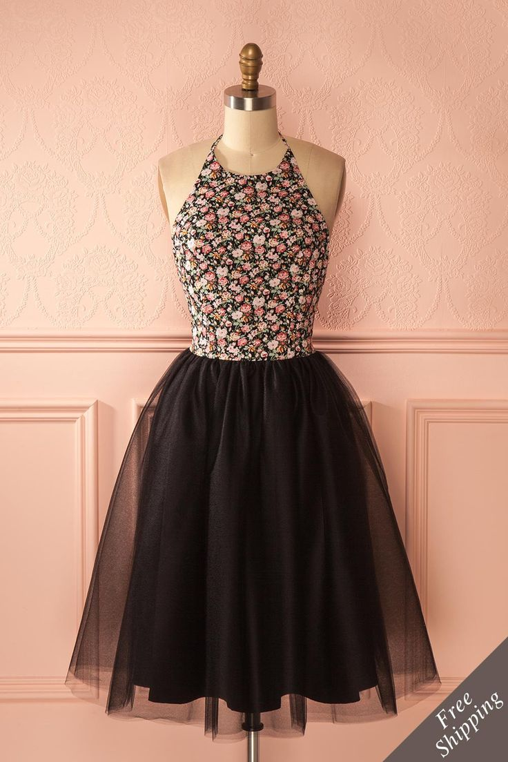Alysia #Boutique1861 / Black tulle and flowers are always a good choice for any occasion ! #promdresses #bridesmaids