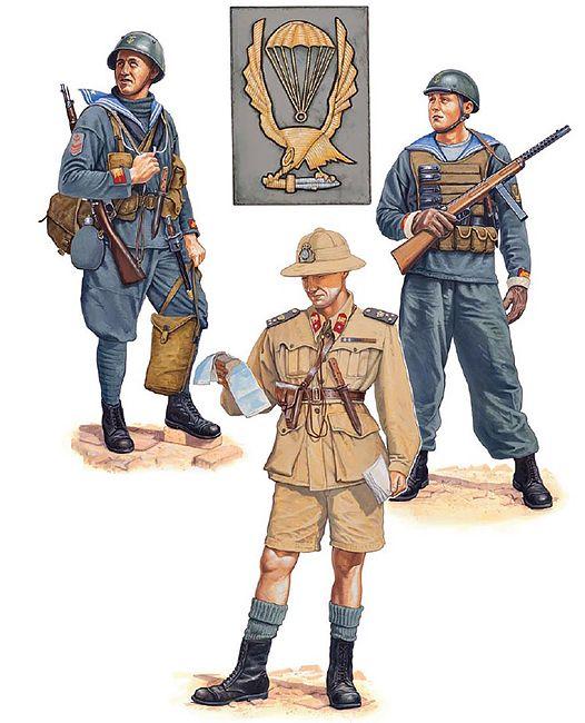 """Regia Marina - Reggimento di Fanteria di Marina """"San Marco"""". 1941-42 - • Sottocapo, compagnia di difesa base ; Bordeaux, 1941  • Tenente di vascello, III Battaglione, Tobruk, 1942  • Marò, Battaglione Nuotatori Paracadutisti, 1943"""