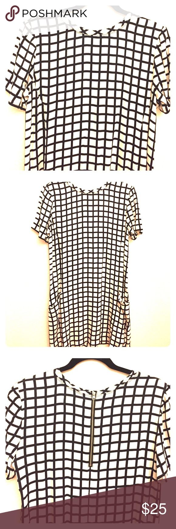 Abercrombie and Fitch Windowpane Shift Dress Shift dress with exposed back zipper.  Armpit to Armpit 20 in. shoulder to hem 34 in. In good condition. Unlined. Abercrombie & Fitch Dresses Mini