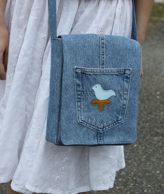 handmade denim messenger bag