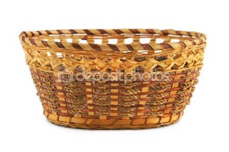 Empty wood basket by Violin - Stock Photo