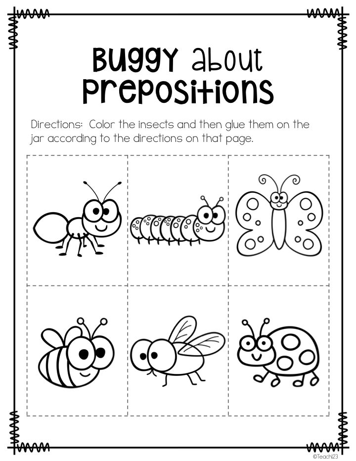 Prepositions Worksheets For Kindergarten prepositions of place – Kindergarten Preposition Worksheets