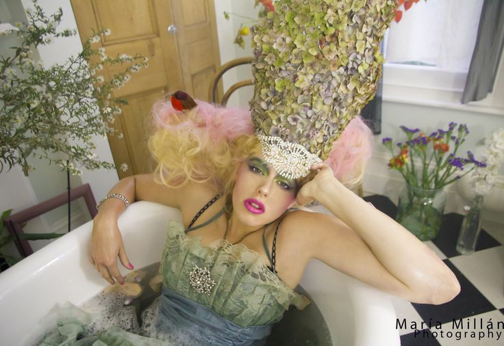 """Just Chillin' having a bath""   Photographer: Maria Millan www.mariamillan.com Model: Bruja Howe MUA: Rachel Williamson Stylist: Nymph & Flora  Maria Millan's Fashion  Photography. #queen #crown #Headpiece #flowers #Bath #luxury #eccentric #dreamy #MariaMIllan #Fashion #Photography"