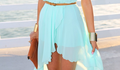 lindo vestido aguamarino
