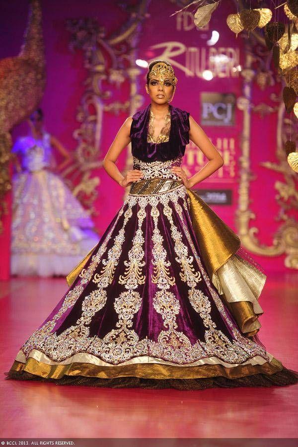 Gold and purple lengha by Ritu Beri at Delhi Couture Week 2013.. Indian bridal lehenga