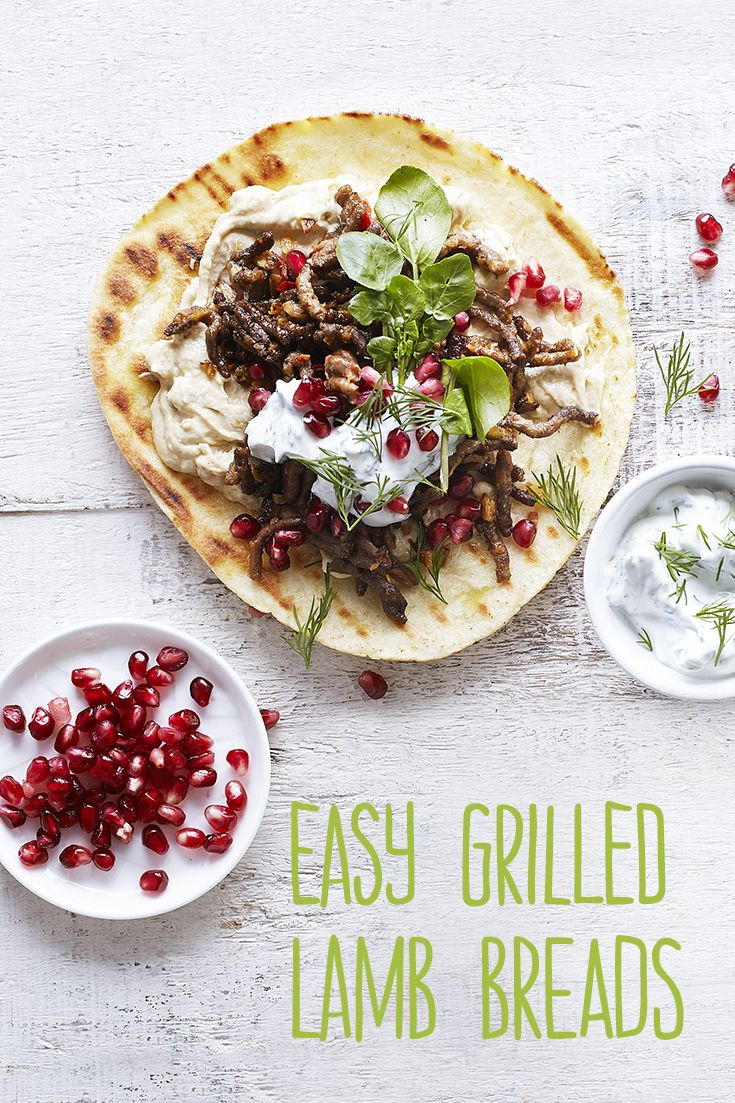 A quick lamb dinner recipes that the whole family will love. It only takes 17 minutes and serves four. Everyone will love this quick lamb on flatbread with hummus and pomegranate seeds.