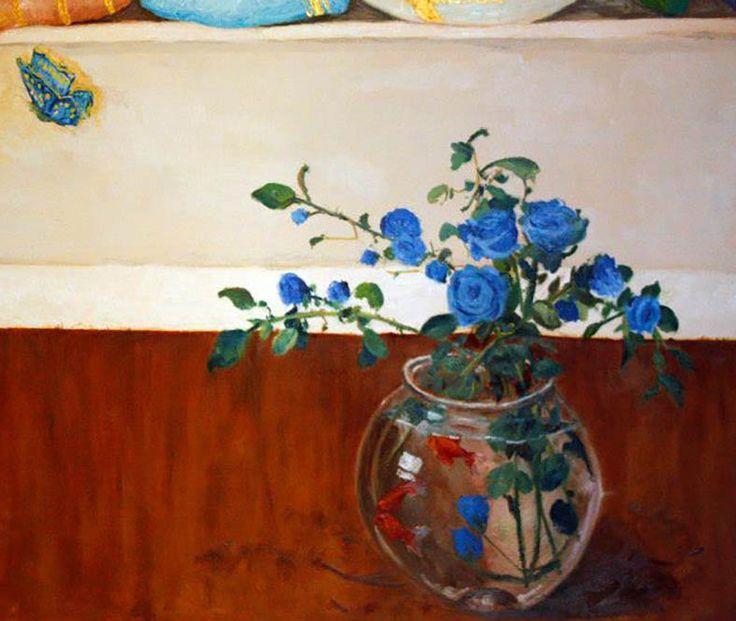 """Vaso con pesci rossi e rose blu  - Trompe l'oeil """"partenza"""" (particolare) eseguito da Pasquale Scognamiglio situato in un appartamento privato (casa Tiziana e Arturo) a Quarto (Na)"""