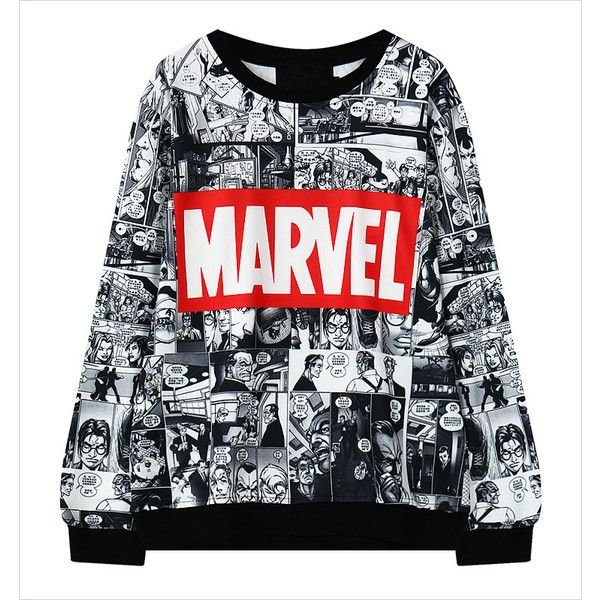 Black Cartoon Letter Unique Sweatshirt 15SS00079 (£15) ❤ liked on Polyvore featuring tops, hoodies, sweatshirts, sweatshirt, beige, black hoodies, black sweatshirt hoodie, black long sleeve top, black sweat shirt e comic book