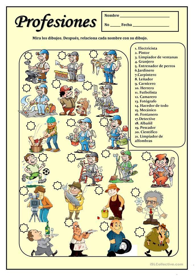 Profesiones Atividades Em Espanhol Ensino De Espanhol Aula De Espanhol