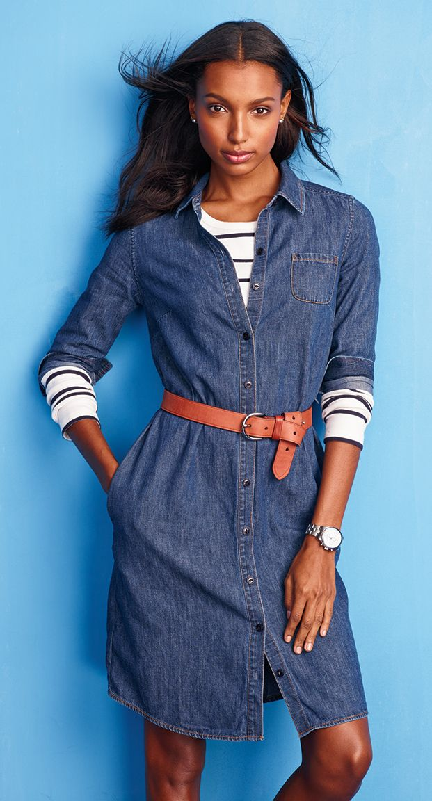 Denim shirtdress like mine — layer it with stripes and a belt for an easy (yet oh-so-chic) look.