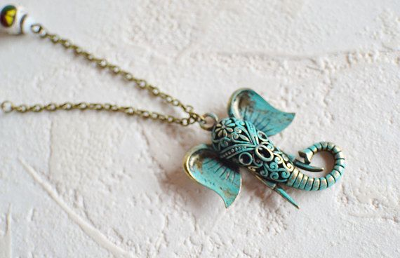 Green Elephant Peace Necklace