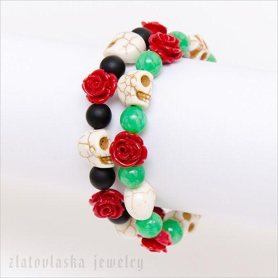 Day of the Dead Gemstone Bracelet by ZlatovlaskaJewelry on Etsy