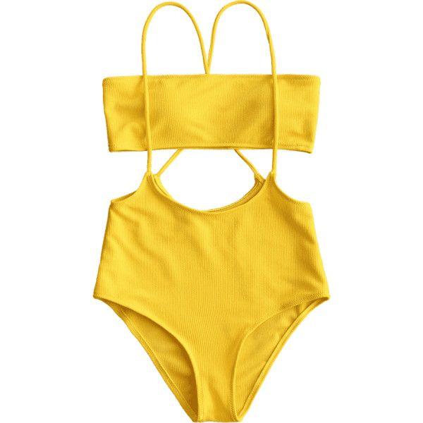 Bandeau Top And High Waisted Slip Bikini Bottoms ($30) ❤ liked on Polyvore featuring swimwear, bikinis, bikini bottom swimwear, yellow bikini bottoms, high waisted bikini, bikini bottom and bikini swimwear