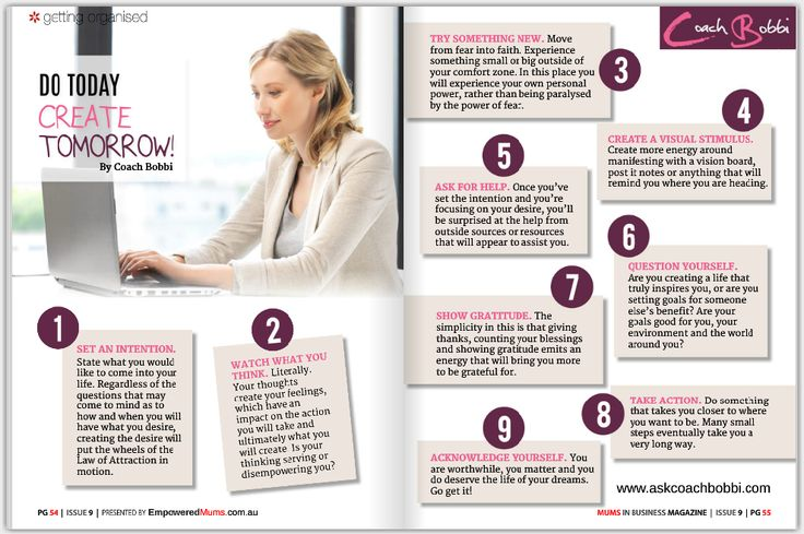 Coach Bobbi's article in the current issue of Mums In Business - Australia Magazine:  Do Today, Create Tomorrow. © Coach Bobbi #womenwhowantmore  #coachbobbi  #manifest #lovelife